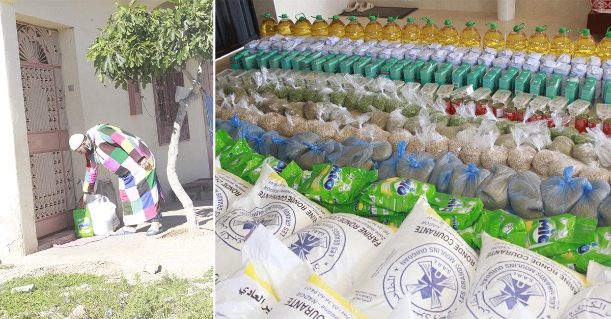Distribution de colis alimentaire aux voisins de la zawiya, durant le mois de ramadan.
