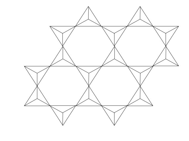 Représentation schématique de la couche tétraédrique d'une argile vue du haut.
